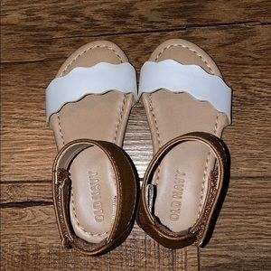 Toddler girl white and brown ankle strap sandals!